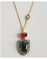 Amrapali - Emerald and Ruby Charm Diamond Necklace - Lyst