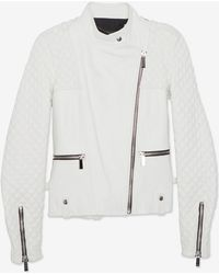 Barbara Bui Zipper Detail Quilted Leather Jacket White - Lyst