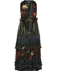 Givenchy Floral Print Sleeve less Boiled Wool-blend and Sheer Chiffon Dress - Lyst