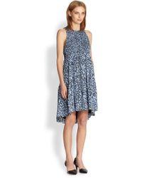 Proenza Schouler Twig Print Smocked Dress - Lyst