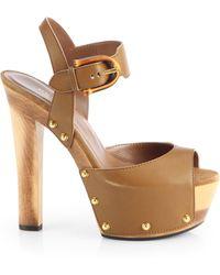 Gucci Nadege Leather Wooden Platform Sandals - Lyst