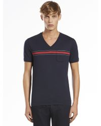 Gucci Cotton Jersey V-Neck Tee - Lyst