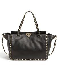 Valentino 'Medium Rockstud' Double Handle Leather Tote - Lyst