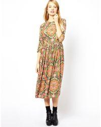 Asos Midi Dress In Roman Print - Lyst