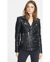 BLK DNM Lambskin Leather Biker Jacket - Lyst