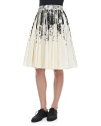 Bottega Veneta Pleated Printed Cotton Skirt - Lyst