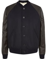 Marni Leather Sleeve Teddy Jacket - Lyst