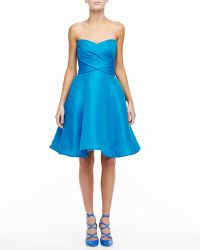 Monique Lhuillier Strapless Sweetheart Cocktail Dress With Bow - Lyst