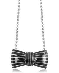 Sonia Rykiel Elisabeth Black Enamel Bow Long Necklace - Lyst