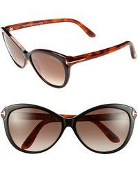 Tom Ford 'Telma' 60Mm Cat Eye Sunglasses - Shiny Black/ Havana brown - Lyst
