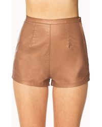 Forever 21 Casual High Waisted Faux Leather Shorts - Lyst