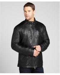 Ermenegildo Zegna Sport Black Lambskin Leather Zip Front Jacket - Lyst