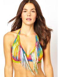 Asos Rainbow Fringe D Fuller Bust Plunge Bikini Halter Top Df - Lyst