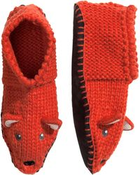 H&M Orange Knitted Slippers - Lyst