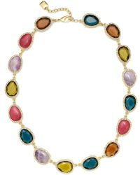 Lauren by Ralph Lauren - Goldtone and Multi Stone with Pave Crystal Link Collar Necklace - Lyst