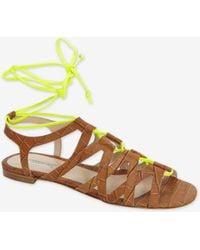 Duccio Venturi - Stamped Croc Neon Tie Gladiator Sandal - Lyst