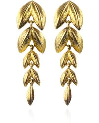 House of Lavande | S Napier Gold Plated Base Metal Leaf Style Drop Earrings | Lyst