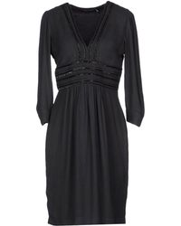 Antik Batik 3/4 Length Sleeve V-Neckline Black Short Dress - Lyst