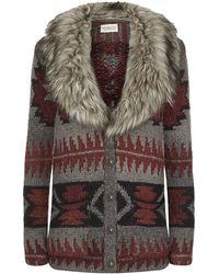 Denim & Supply Ralph Lauren - Chunkyknit Cardigan with Faux Fur Collar - Lyst