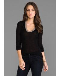 Enza Costa Cashmere Colorblock Bold U Sweater in Black - Lyst