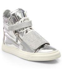 Giuseppe Zanotti Swarovski Double Strap High-Top Sneakers - Lyst