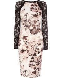 Karen Millen Soft Floral Print Stretch Dress - Lyst