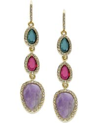 Lauren by Ralph Lauren - Goldtone Three Stone and Pave Crystal Drop Earrings - Lyst
