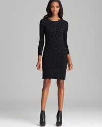 MICHAEL Michael Kors Three Quarter Sleeve Studded Dress - Lyst