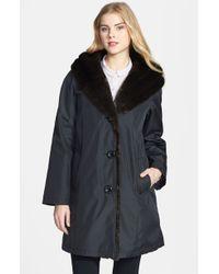 Gallery Faux Fur Trim Hooded Strom Coat - Lyst