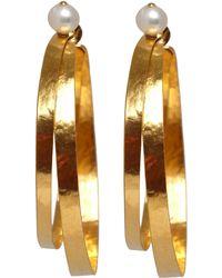 Herve Van Der Straeten - Goldplated Pearl Hoop Earrings - Lyst