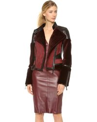 J. Mendel - Colour Block Motorcycle Jacket with Mink Fur - Lyst