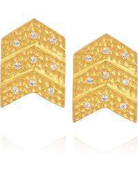 Kevia - Goldplated Cubic Zirconia Chevron Earrings - Lyst