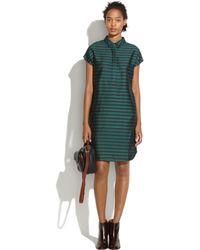 Madewell Silk Shiftdress in Stripe green - Lyst