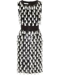 Oscar de la Renta Tasseled Sequined Silk Dress - Lyst