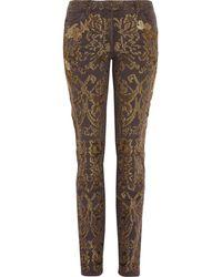 Roberto Cavalli Embroidered Mid Rise Slim Leg  Jeans - Lyst