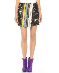 Josh Goot - Marble Stripe Black Tuxedo Stripe Wrap Pencil Skirt - Lyst