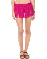 Pilyq - Berry Bliss Fringe Skirt - Lyst