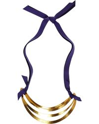 Herve Van Der Straeten - Goldplated Cutout Ribbon Tie Necklace - Lyst