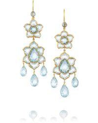Munnu - Lotus 22karat Gold Aquamarine Earrings - Lyst
