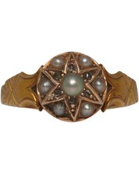 Annina Vogel - 15ct Gold Diamond and Pearl Star Victorian Ring - Lyst