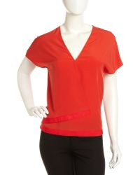 Cacharel Crepe Wrapfront Blouse - Lyst