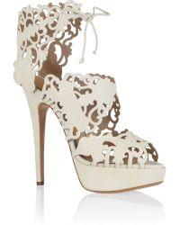 Charlotte Olympia Belinda Cutout Suede Sandals - Lyst