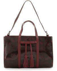 L.A.M.B. - Adette Glazed Leather Satchel Bag Cranberry - Lyst