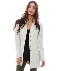 Chanel Gray Leather Jacket - Lyst