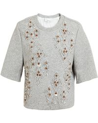 3.1 Phillip Lim Embellished Jersey Cropped Sweater - Lyst