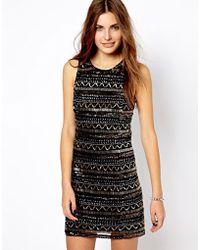 Mango Black Embellished Dress - Lyst