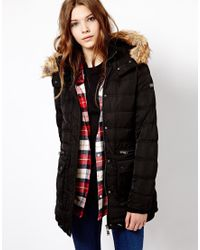 Pull&Bear - Padded Coat with Faux Fur Hood - Lyst