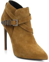 Saint Laurent Suede Buckle Ankle Boots - Lyst