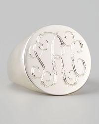 Sarah Chloe Lana Monogrammed Round Signet Ring Silver Gray 7 - Lyst