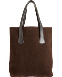Barneys New York Suede Basic Tote brown - Lyst